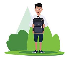 jim character with student bag