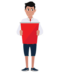 jim character with red poster
