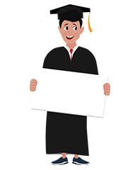 jim character student graduated with sign