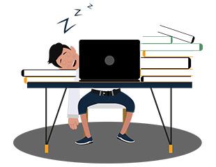 jim character sleeping on the desk