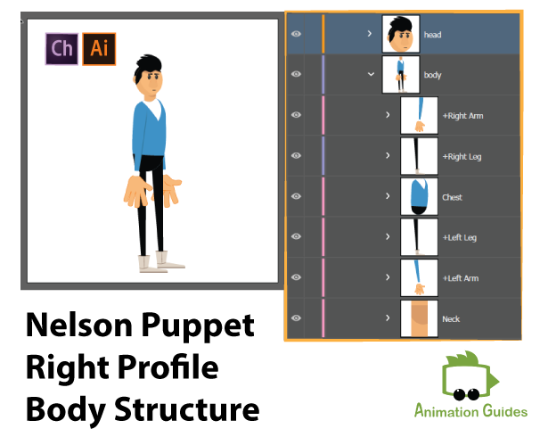 character puppet profile structure Adobe Illustrator