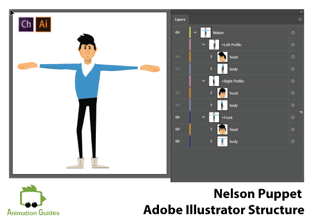 Nelson puppet Adobe illustrator top structure