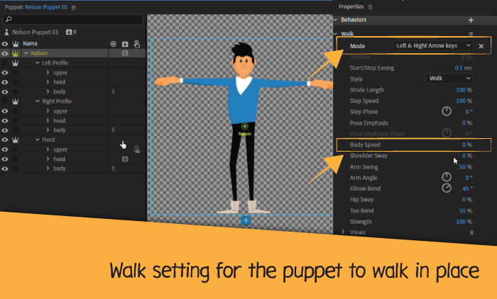 walk settings for the puppet
