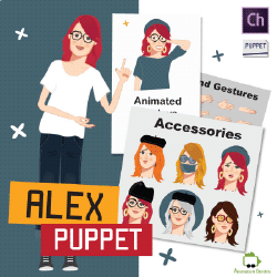 Alex Puppet customizable female puppet for adobe character animator
