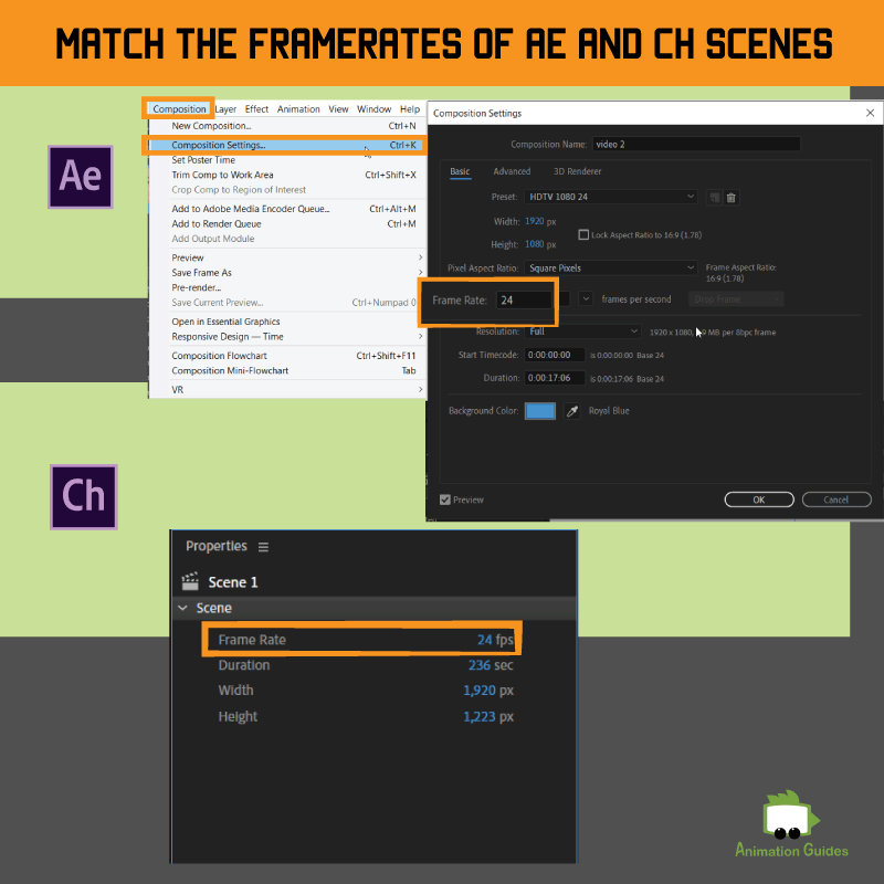 match the framerates of ae and ch scenes