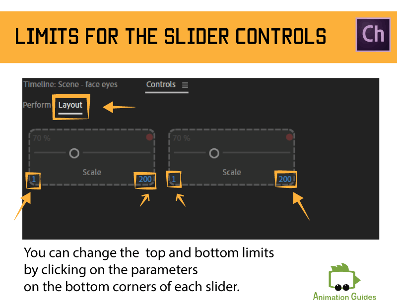 limits for slider controls in adobe character animator