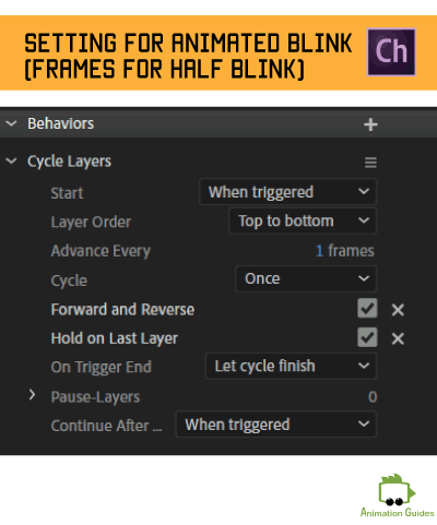 settings for animated blinks when using only on part of blink animation and reversing it in character animator