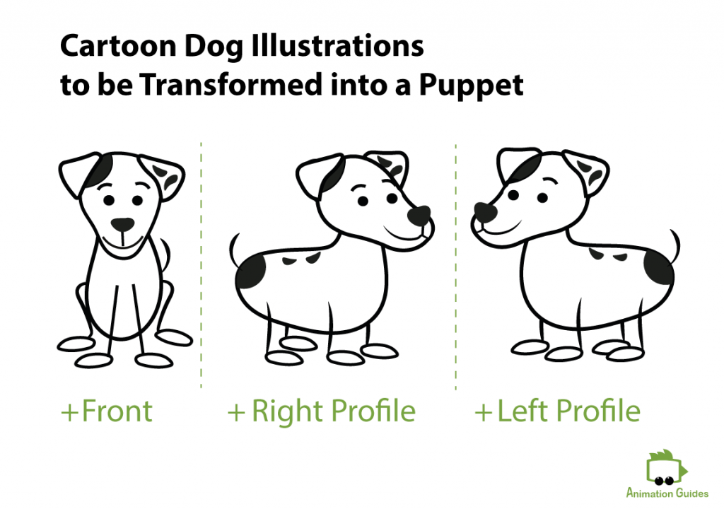 cartoon dog front left and right profile illustrations to be transformed into a puppet