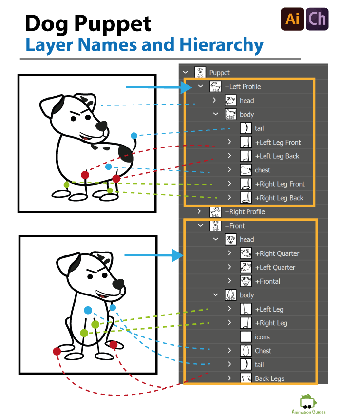 dog puppet correct structure layer names and hierarchy
