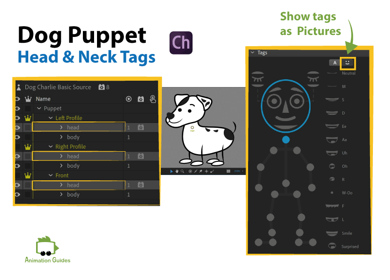 head and neck tags in adobe character animator for dog puppet
