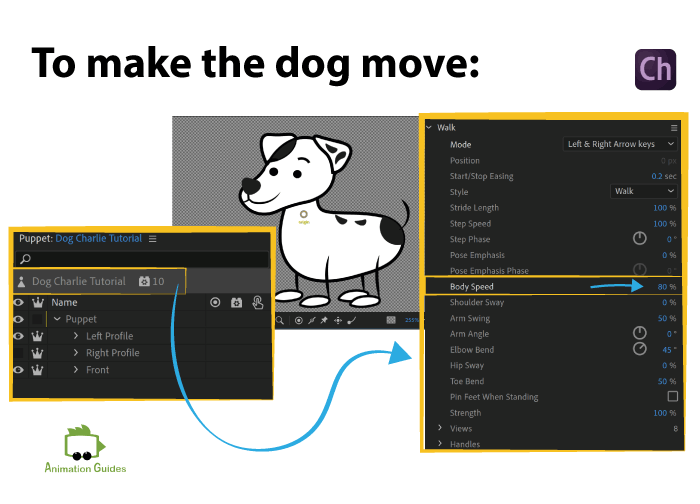 make the dog move in scene and not in place adobe character animator