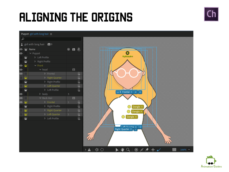 aligning the origins for back hair in adobe character animator