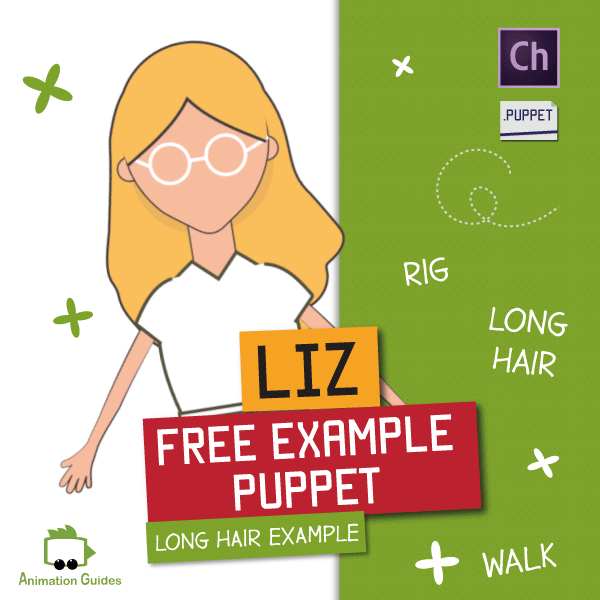 free example puppet with long hair for adobe character animator