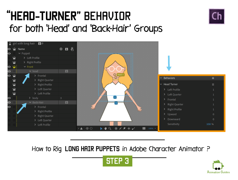head turner behavior for head and back hair adobe character animator