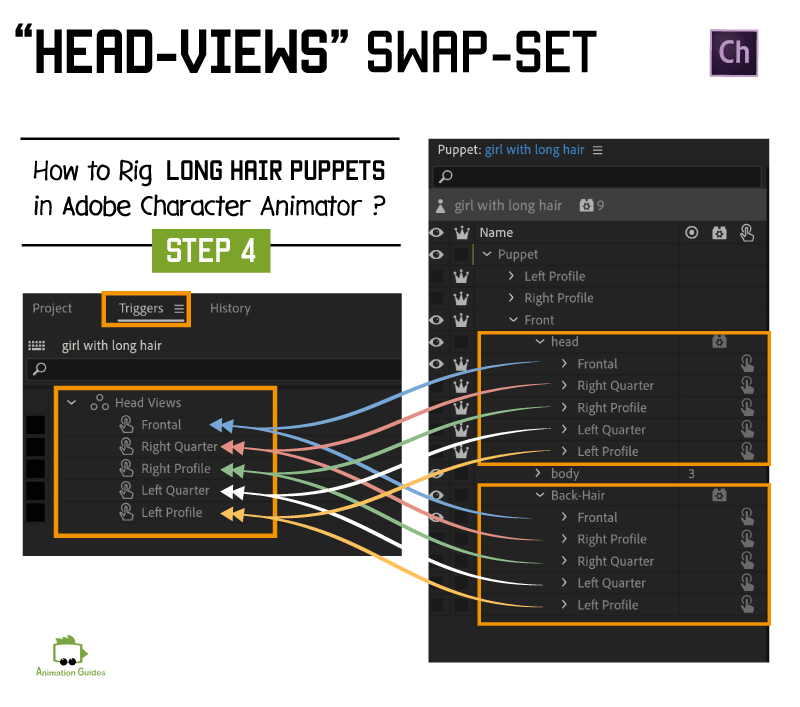 head views swap set for long hair characters in adobe character animator