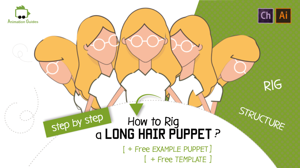 how to rig long hair puppets in adobe character animator include free tempalte and example puppet