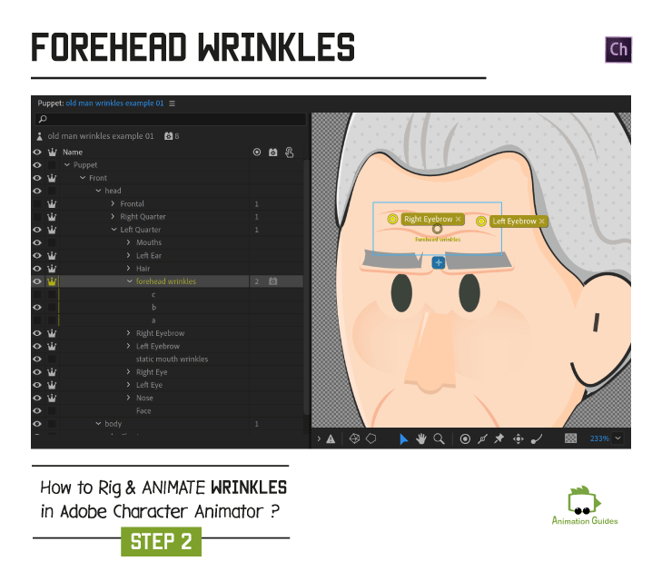 forehead wrinkles in adobe character animator eyebrow tags