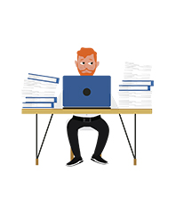 animationguides character david sitting with laptop