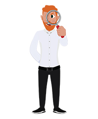 animationguides character david with magnifying glass