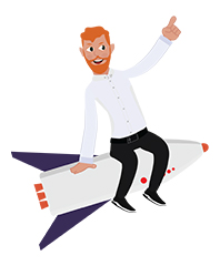 animationguides character david on rocket