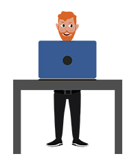 animationguides character david stands with laptop