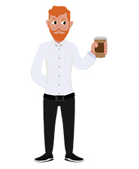 animationguides character david with coffee