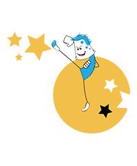 BucketJo character kicking stars