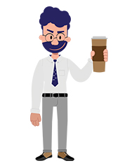 Jeremy character with a big cup of coffee