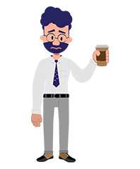Jeremy character with coffee