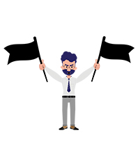 Jeremy character with two black flags