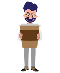 Jeremy character with huge cup of coffee