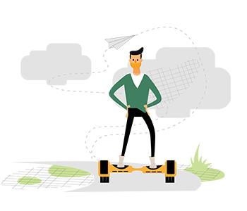 Amos Illustration hover board