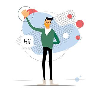 Amos Illustration say hi