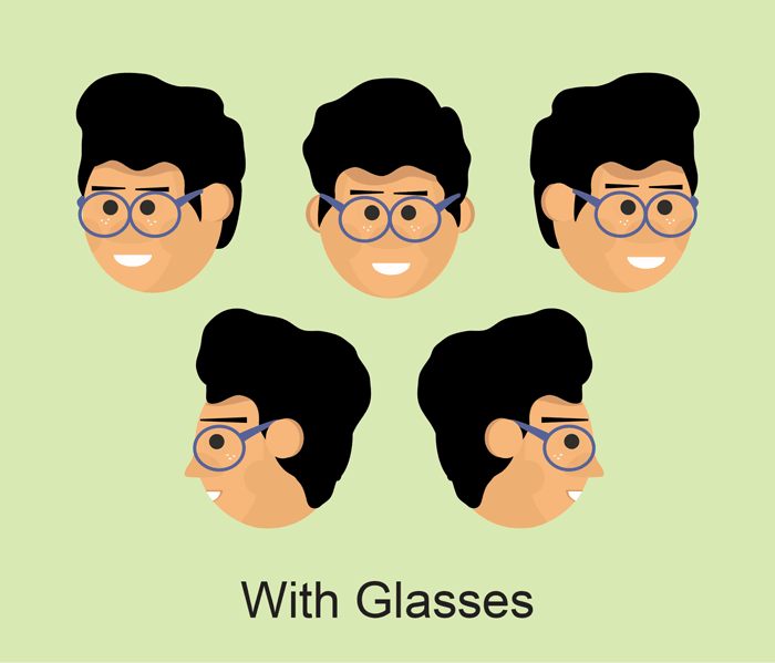 Albert adobe character animator puppet with glasses