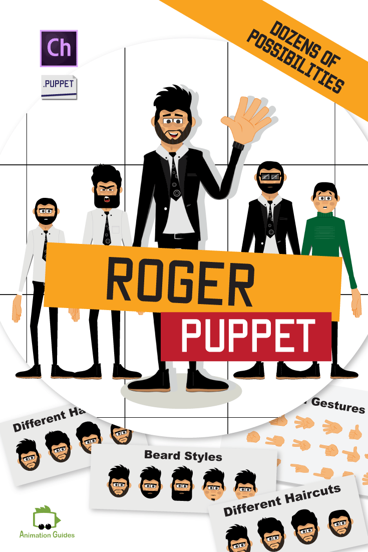 Download this customizable cartoon puppet for Adobe Character Animator. Roger can follow your head movements, lip-sync your voice, walk, gesture and perform certain animations. Includes 5 facial expressions, 4 haircuts, 5 beard styles, 3 outfits, walk behavior, beard styles, 17 hand gestures, and 30 pre-made replays.