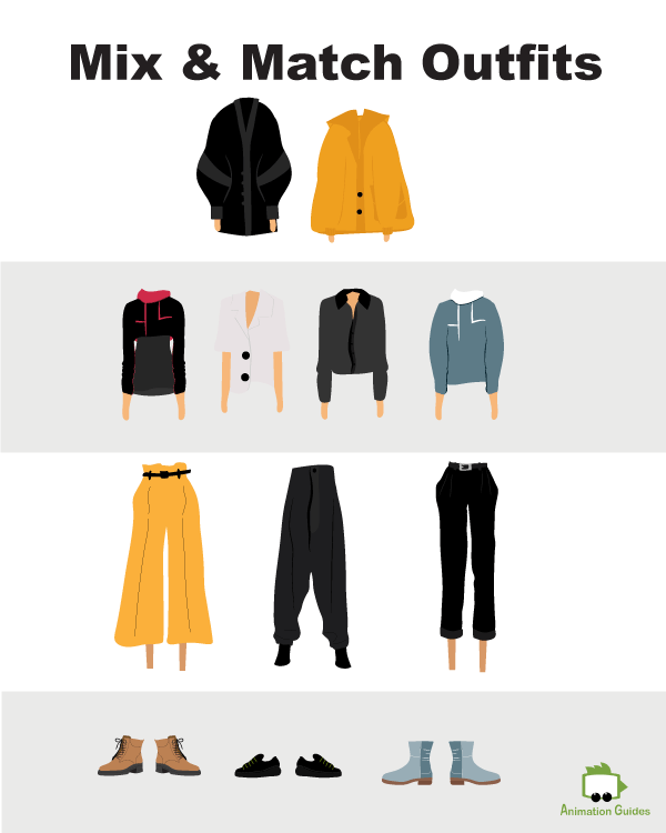 Mia puppet mix and match outfits