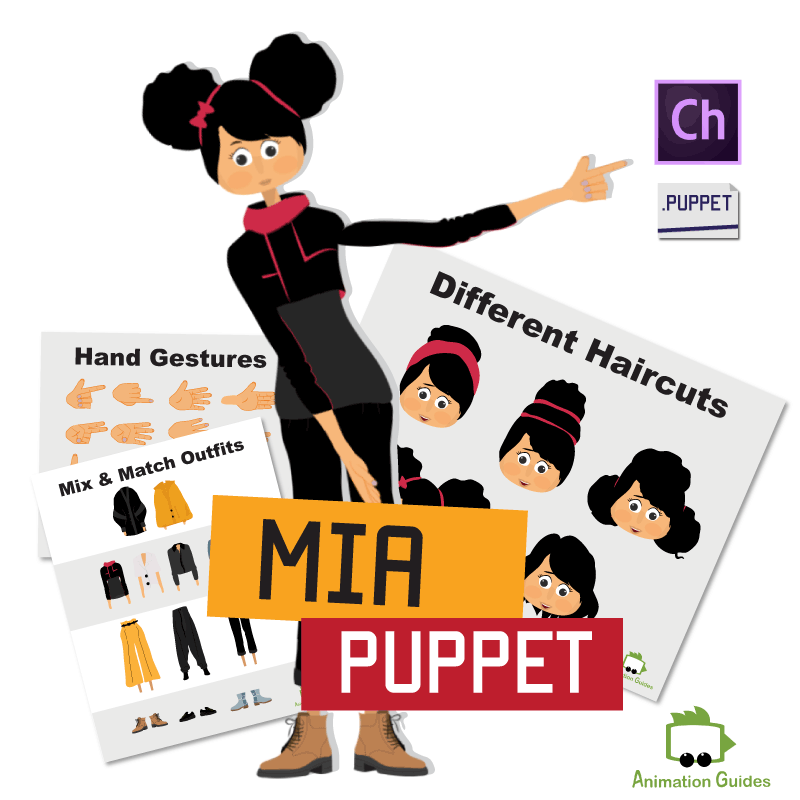 Mia female puppet for character animator