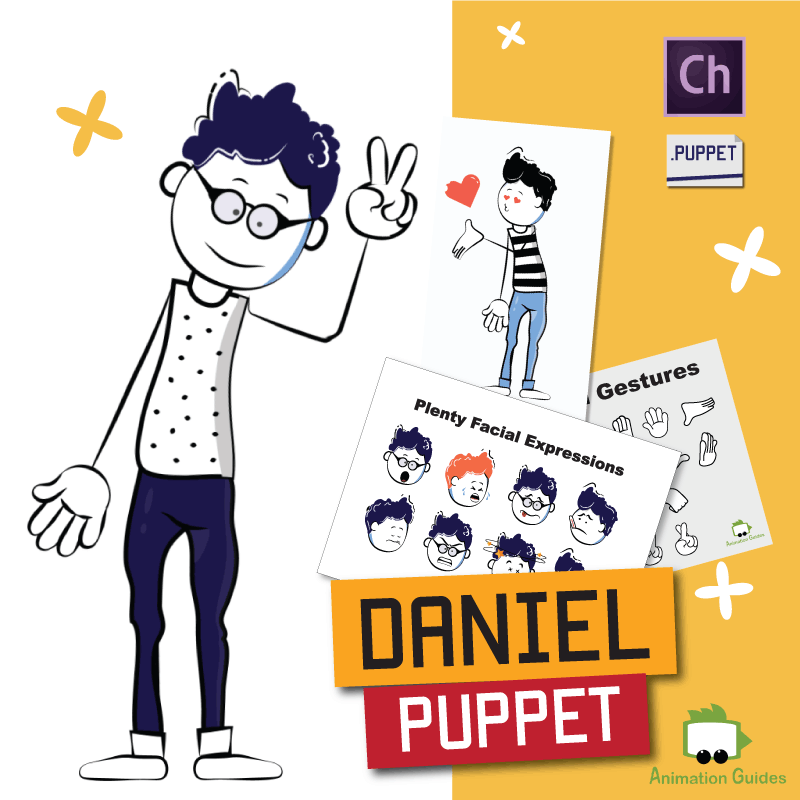 Daniel stylish cartoon puppet