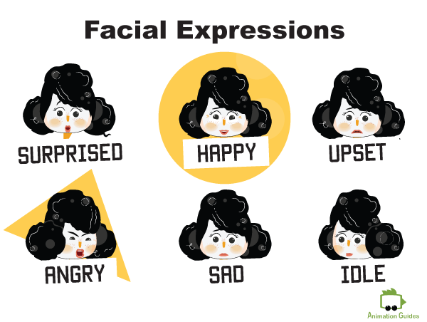 Mimi female puppet facial expressions