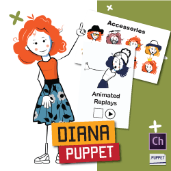 Diana female stick figure puppet