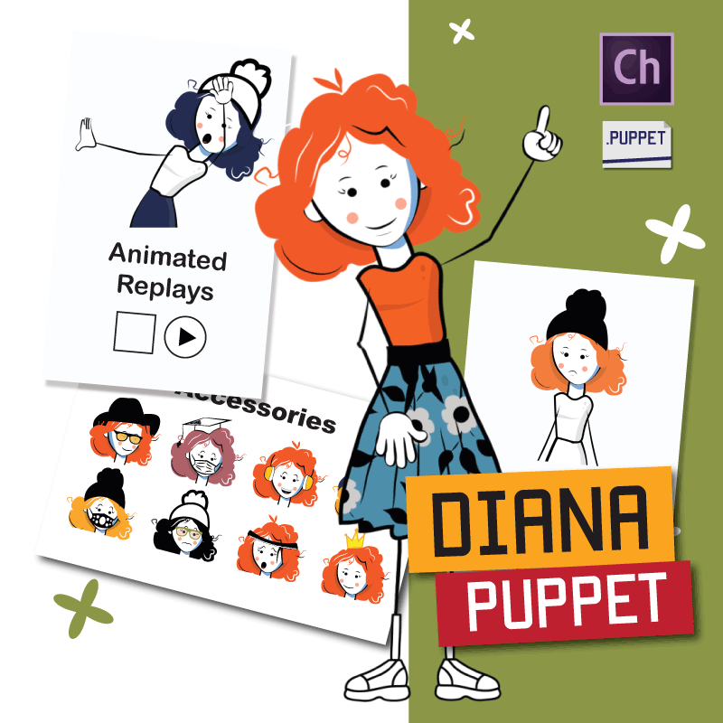 Diana girl stick puppet for Adobe Character Animator