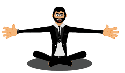Roger gestures yoga pose and hug