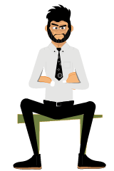 Rogerio gestures sitting