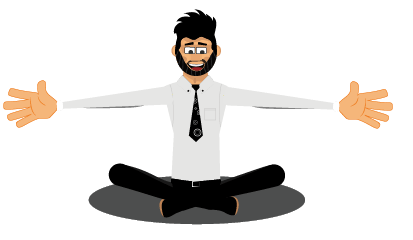 Rogerio gestures yoga pose and hug