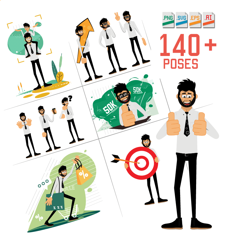 Rogerio character illustrations pack