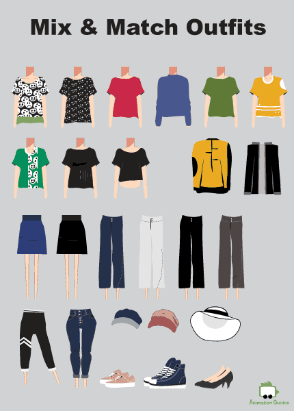 Eva clothes mix and match items