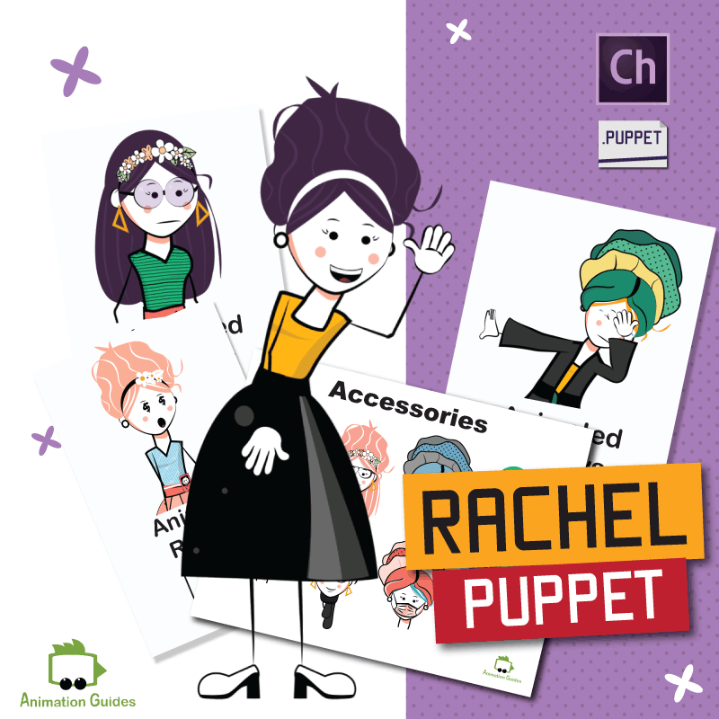 Rachel stylish stick puppet for adobe character animator