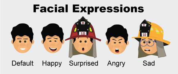 albert fireman puppet facial expressions