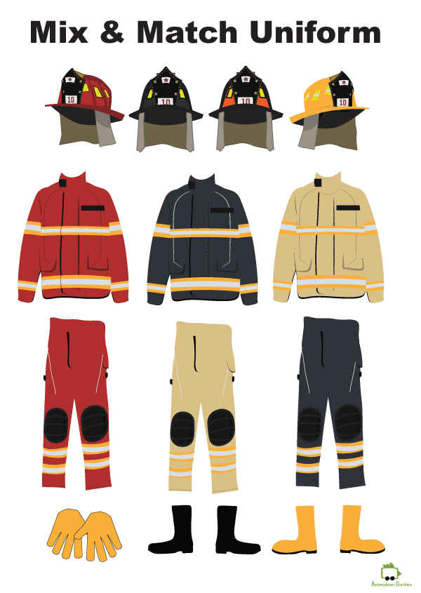 albert fireman puppet mix and match uniform items