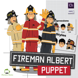 Fireman Albert puppet in uniform for Adobe Character Animator